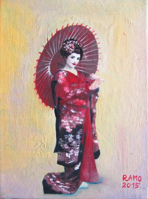 Geisha in Red-Black Kimono