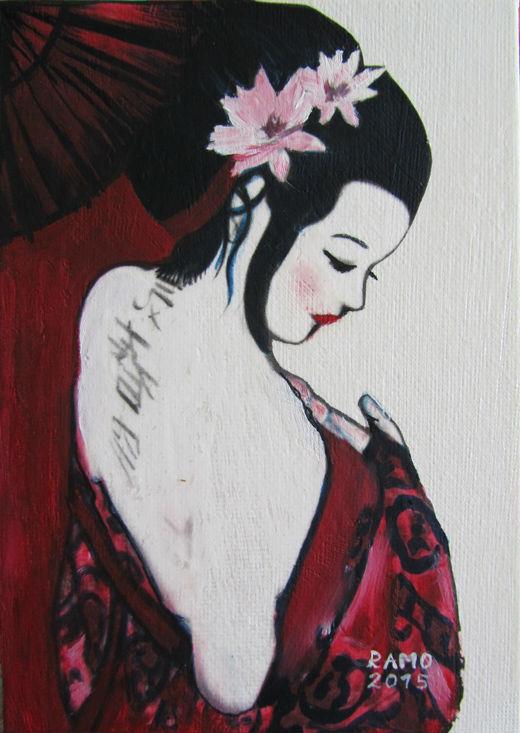 Geisha with Red Kimono