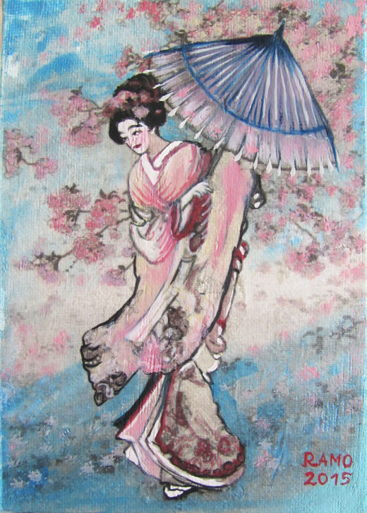 Geisha in Cherry Blossom Romantic Style
