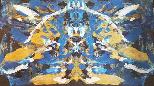 Rorschach Blau-Gold