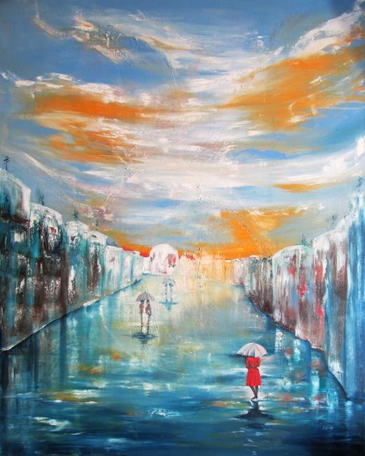Lady under Orange Sky