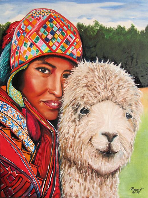 Bolivianische Frau mit Lama
