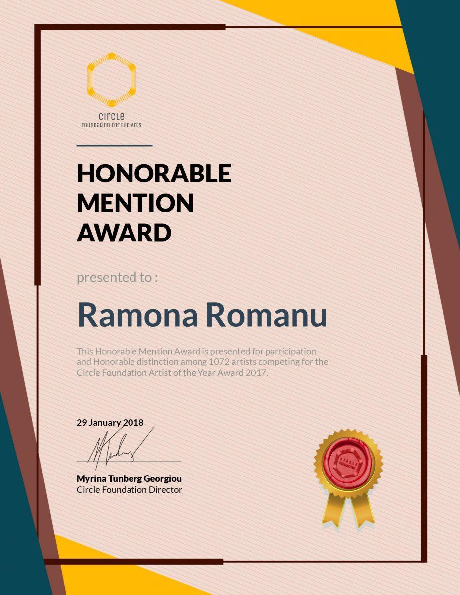 Honorable Mention Award Ramona Romanu